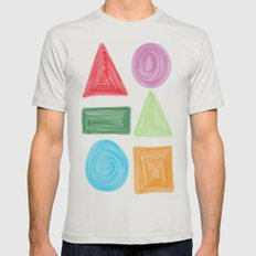 shapes Mens Fitted Tee Silver SMALL