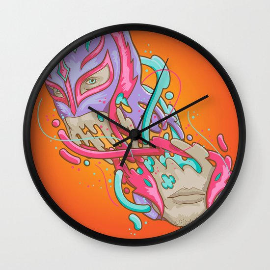 Happily melting Rey Mysterio Wall Clock