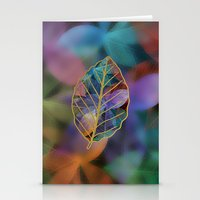 Colored Leaf Pattern 2 Stationery Cards