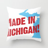 Made in Michigan Throw Pillow