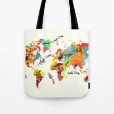 world map art text Tote Bag