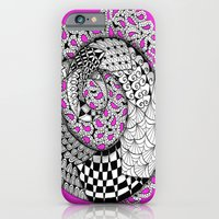 iPhone Cases featuring Zentangle Mobius Pink by Vermont Greetings