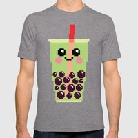 Happy Pixel Bubble Tea Mens Fitted Tee Tri-Grey SMALL