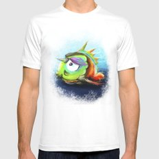 Sad Little Fish White SMALL Mens Fitted Tee