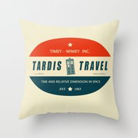 Tardis Travel - Fantasy Travel Logo Throw Pillow