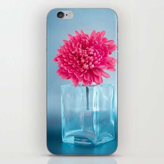 LE NOBLE - Pink flower in blue glass vase iPhone & iPod Skin