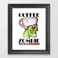 coffee zombie Framed Art Print