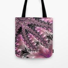 Funky Fun Elegant Feminine Girly Pink Black Trendy Stylish Feathers Delicate Intricate Fractal Art Tote Bag