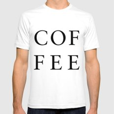 #COFFEE SMALL White Mens Fitted Tee