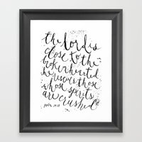 PSALM 34:18 (Black And W… Framed Art Print
