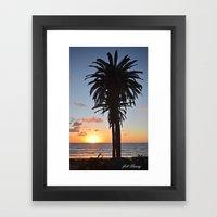 Southern California Sunset Palm Tree Framed Art Print