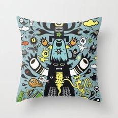Guru Cat (blue time) Throw Pillow