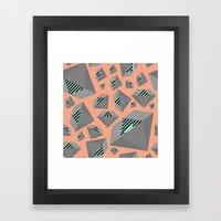 Mint And Gray Diamond On… Framed Art Print