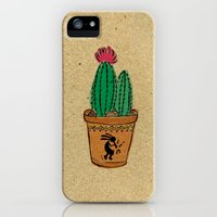 iPhone Cases featuring Potted Cactus I by Kat Rutt Design