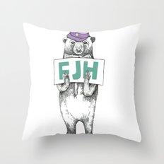 FJH-bear sign Throw Pillow