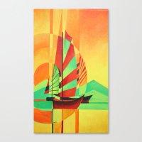 Chinese Junks Sail To Sh… Canvas Print
