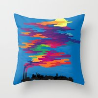 Hidden in the Smog (day) Throw Pillow