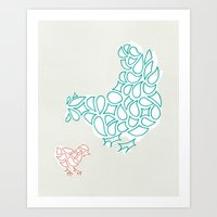 Farm Hen & Chick Art Print