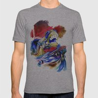 manic horses Mens Fitted Tee Athletic Grey SMALL