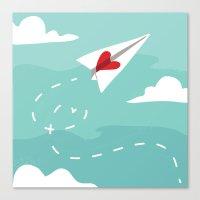 Love Letter Airplane Canvas Print