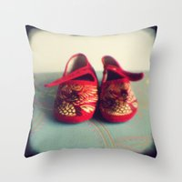 Two red shoes Throw Pillow