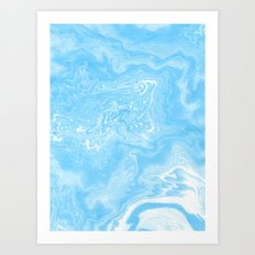 Hiro - spilled ink japanese printmaking paper marbling marbled marble blue india ink ocean maps Art Print