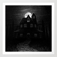Drawlloween 2104: Haunted House Art Print