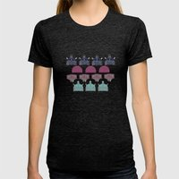 Robots don't like stairs (R2D2, Johnny 5 & The Dalek) Womens Fitted Tee Tri-Black SMALL