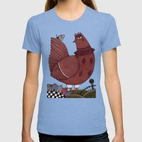 It's A Butterfly! Womens Fitted Tee Tri-Blue SMALL