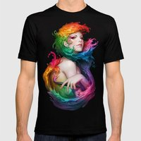 Angel Of Colors Mens Fitted Tee Black SMALL