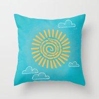 Primitive Sun (Cool Variant) Throw Pillow