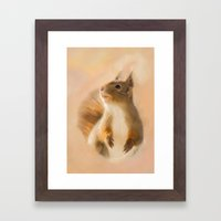 Squirrel, oil and chalk painted squirrel Framed Art Print