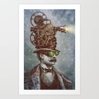 pixel Art Prints featuring The Projectionist (colour option) by Eric Fan