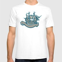 sailing ship galleon scroll Mens Fitted Tee White SMALL