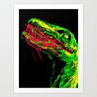 Hungry Deinonychus Art Print