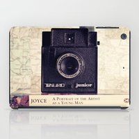 Vintage black camera and Joyce and Dracula books on Map pattern background  iPad Case