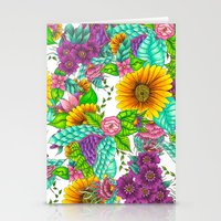 Sunflowers purple watercolor floral hand drawn summer illustration Stationery Cards