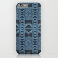 iPhone & iPod Case featuring Blue Doodle Geometry  by NOxLA