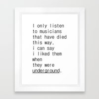 underground music Framed Art Print