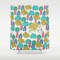 Shower Curtain featuring Happy Hermit by Monica Gifford