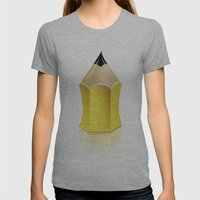 Stylized Pencil Artwork (Vector) Womens Fitted Tee Athletic Grey SMALL