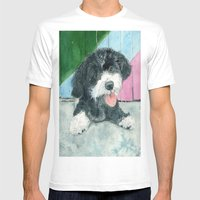 Sammy the Parti-poodle Pup Mens Fitted Tee White SMALL