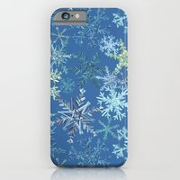 iPhone & iPod Case featuring icy snowflakes on blue by ravynka