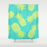 Pineapple Pattern - Turquoise & Lemon Shower Curtain