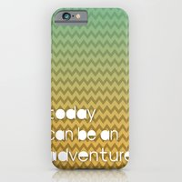 Today Can Be An Adventure Poster Teal Yellow Chevron iPhone 6 Slim Case