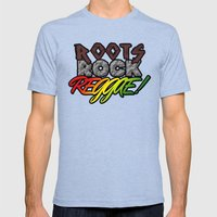 Roots Rock Reggae Mens Fitted Tee Tri-Blue SMALL