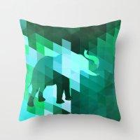 Emerald Elephant Throw Pillow