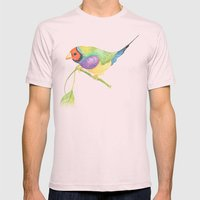 Lady Gouldian Finch Mens Fitted Tee Light Pink SMALL