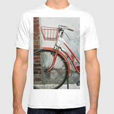 Red bicycle SMALL White Mens Fitted Tee