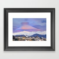NASA APOD. ASTRONOMY PICTURE OF THE DAY! Lenticular clouds over Granada and Sierra Nevada at sunset Framed Art Print